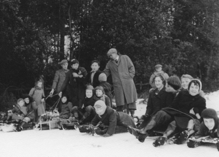 Tabogganing at Cow Wood, Handcross