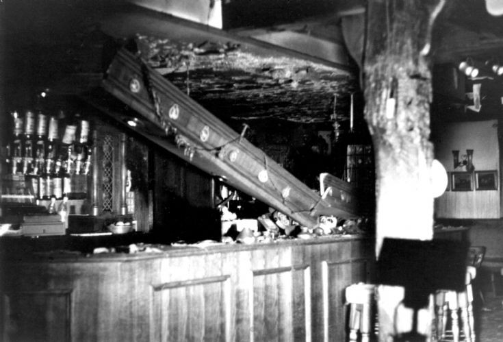 Red Lion fire damage in the bar