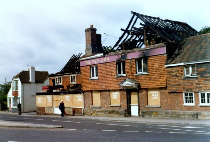 Red Lion boarded up after the fire