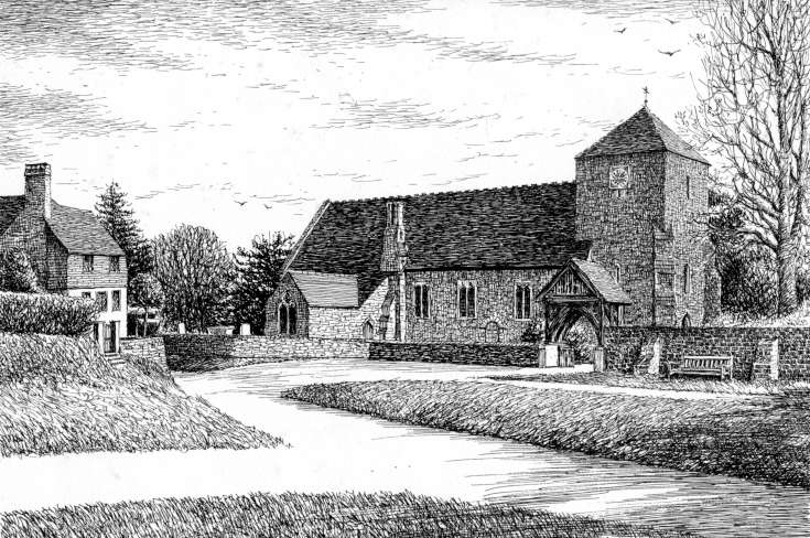 Drawing of St. Mary's church, Slaugham