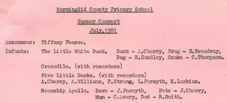 Warninglid School Summer Concert 1981