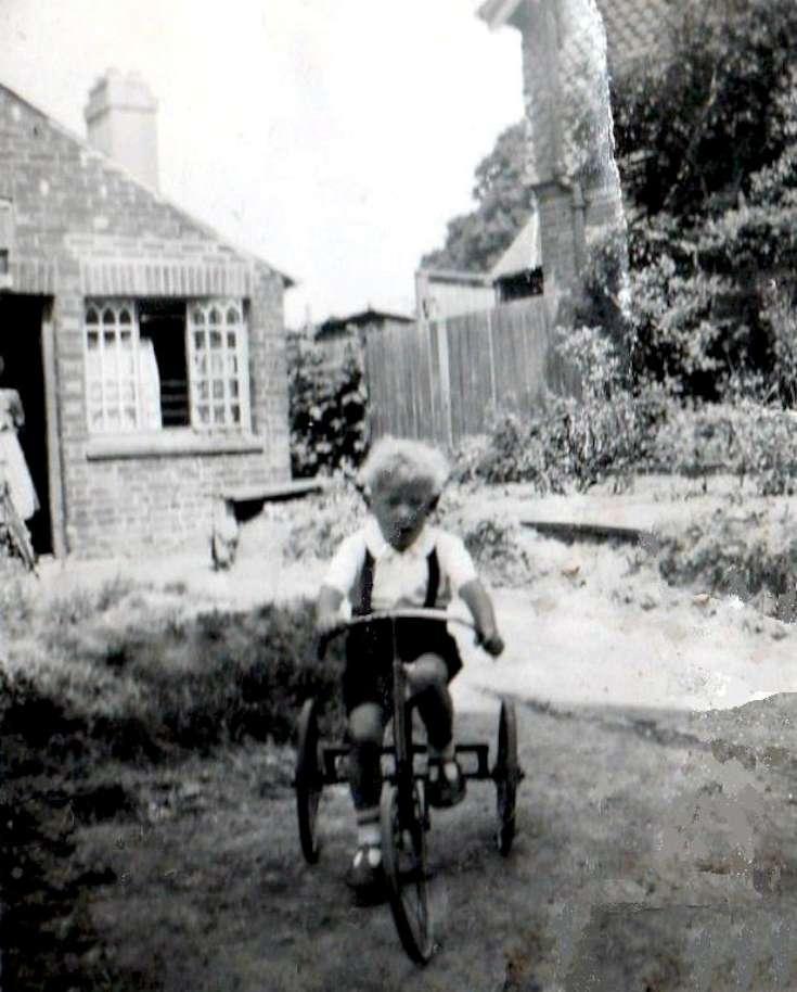 Royal Oak, Handcross - Bernard Miles on his bike