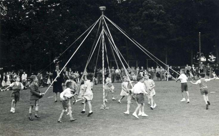 Maypole dancing in Handcross Recreation Ground