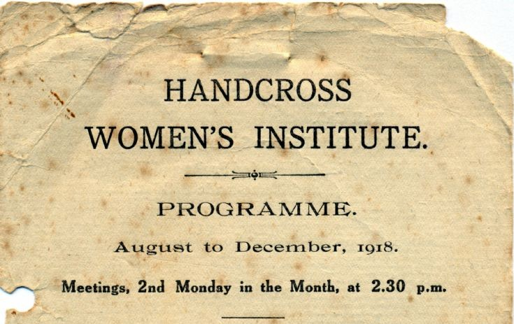 Handcross Women's Institute programmes 1918