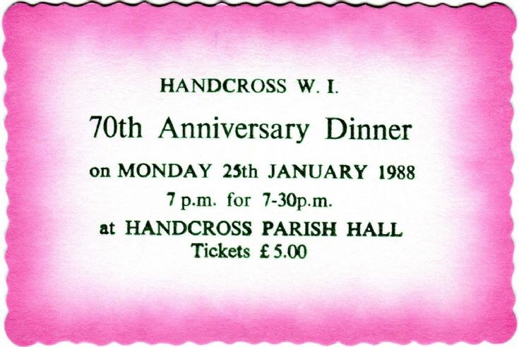 Handcross Women's Institute 70th anniversary