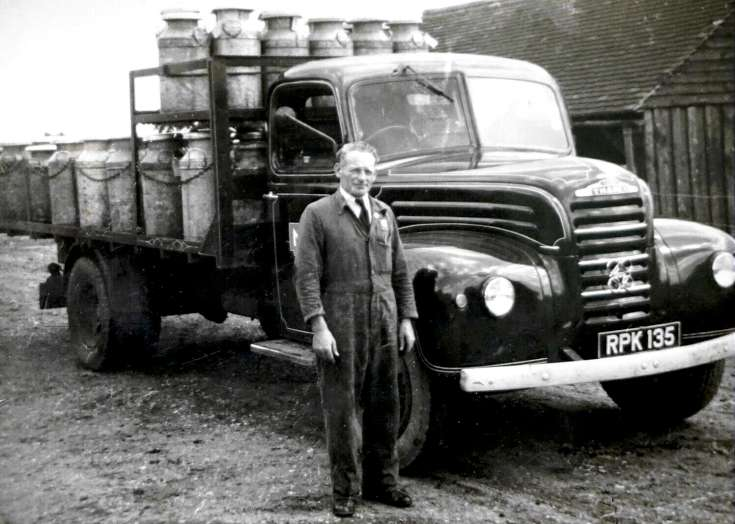 Harry Boniface and milk lorry