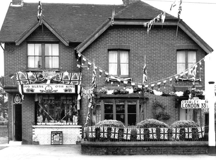 Butchers shop decorated for coronation (1 of 2)