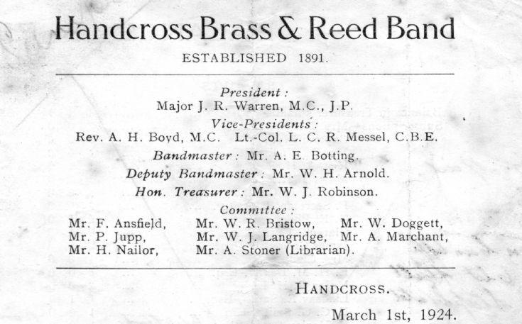 Handcross Brass Band financial statement 1924