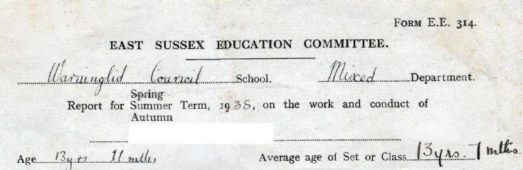 Warninglid School report 1935