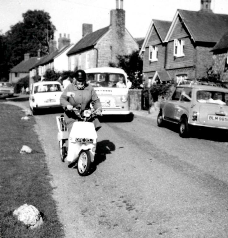 Esther Shopland on her moped in Slaugham