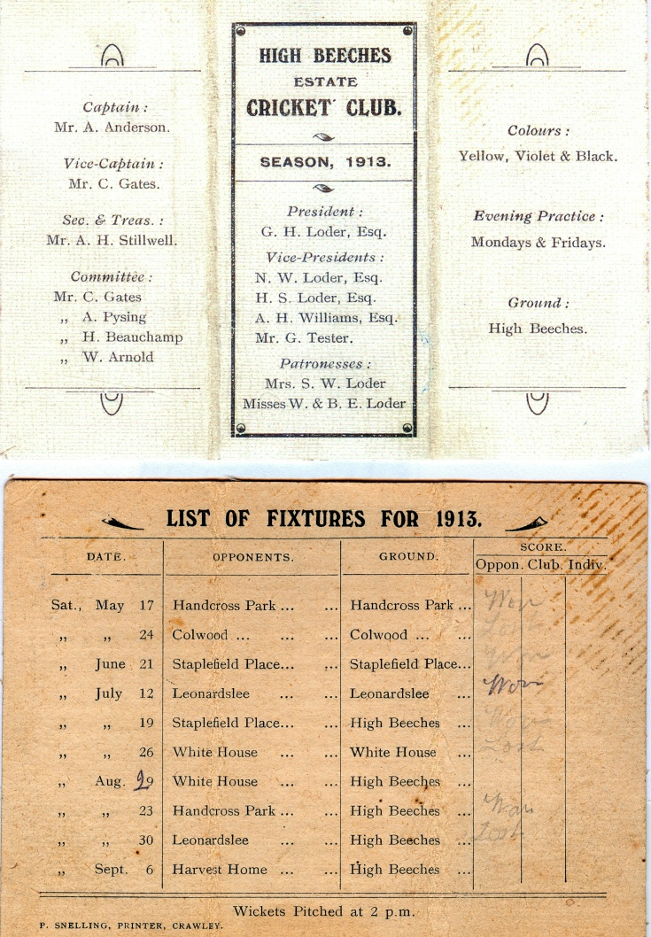 Fixtures card of High Beeches Cricket Club 1913