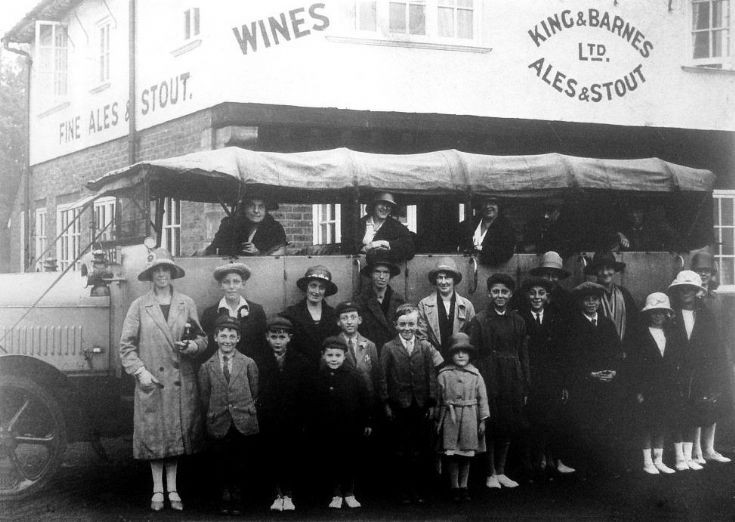 Charabanc outside the Black Swan, Pease Pottage