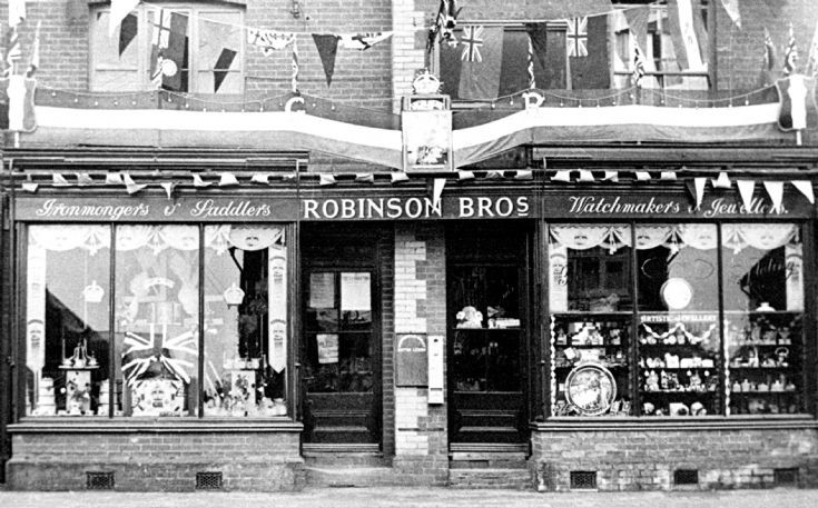 Robinson Bros shop decorated for coronation