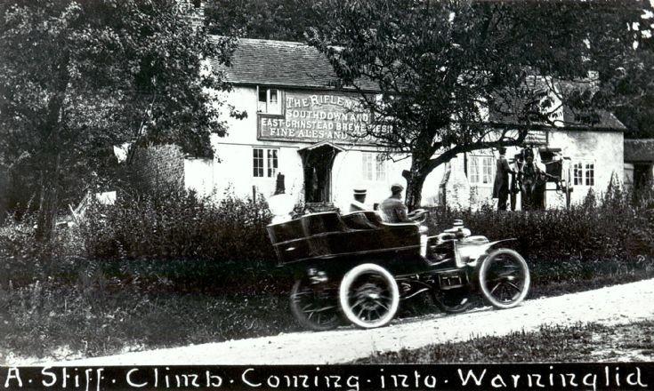 Rifleman Inn at Warninglid with early motor car
