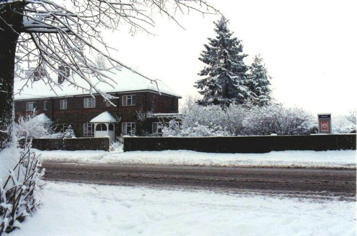 Handcross Police Station in the snow