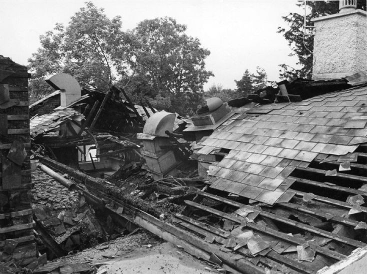 Damage to the roof of the Red Lion, Handcross