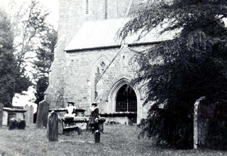 Girls in Slaugham churchyard