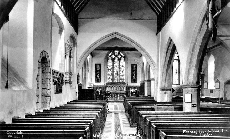 Interior of Slaugham church and war memorial