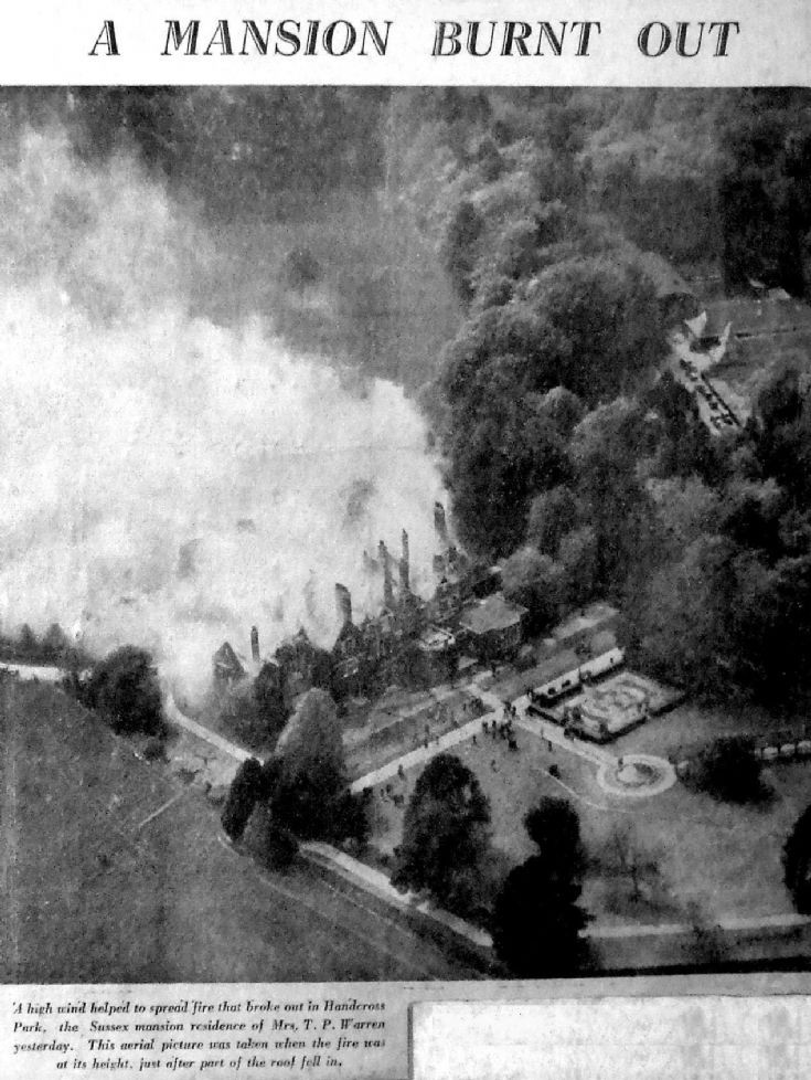 Handcross Park aerial view of fire