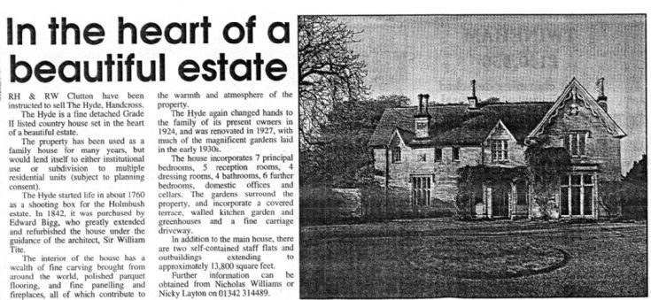 Hyde country house for sale