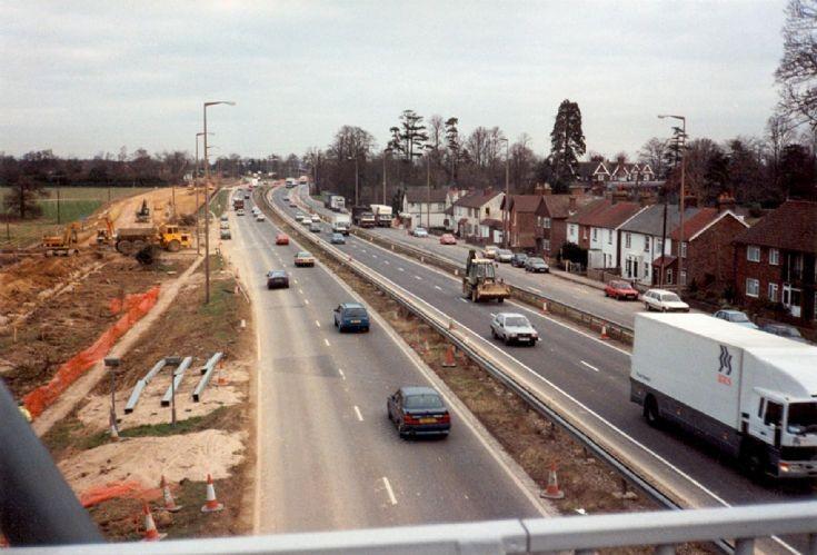 Road works at Pease Pottage