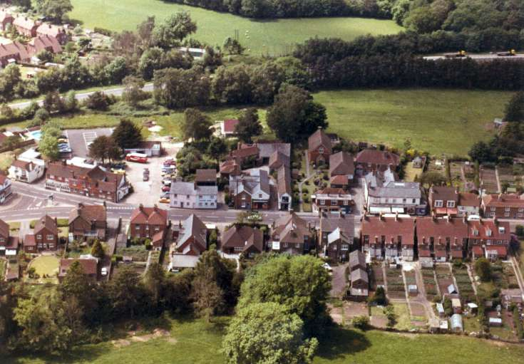 Aerial view of Red Lion and Handcross High Street