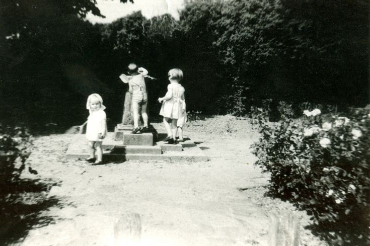 Children playing beside the fountain