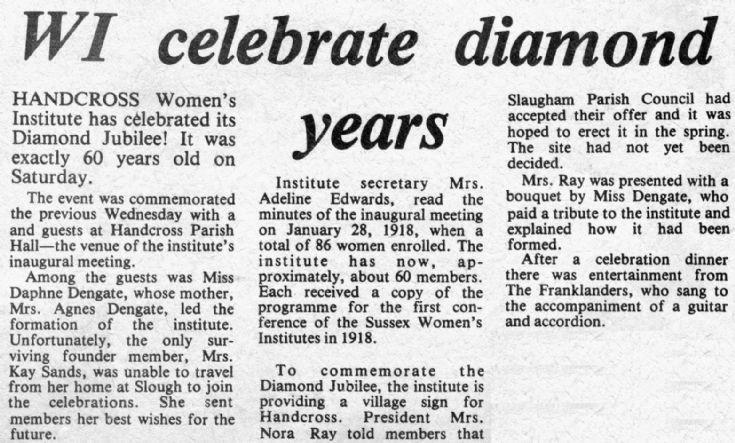 Handcross Women's Institute Diamond Jubilee