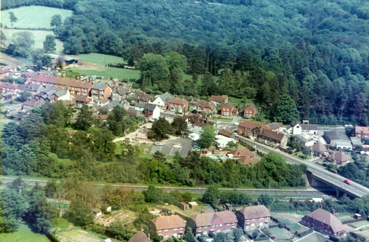 Aerial view of Handcross and the bridge
