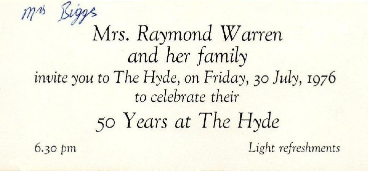 Warren family at the Hyde 50 years