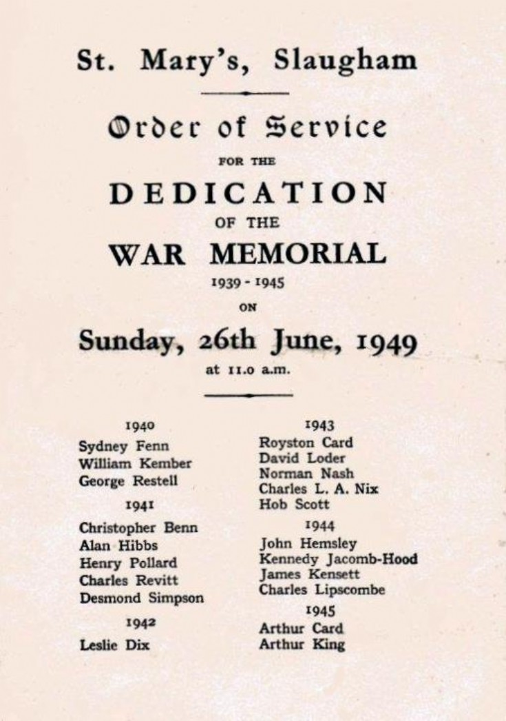 Dedication of War Memorial at St Mary's