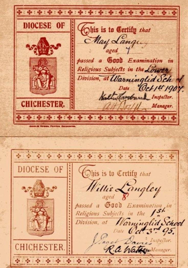 Warninglid School certificates