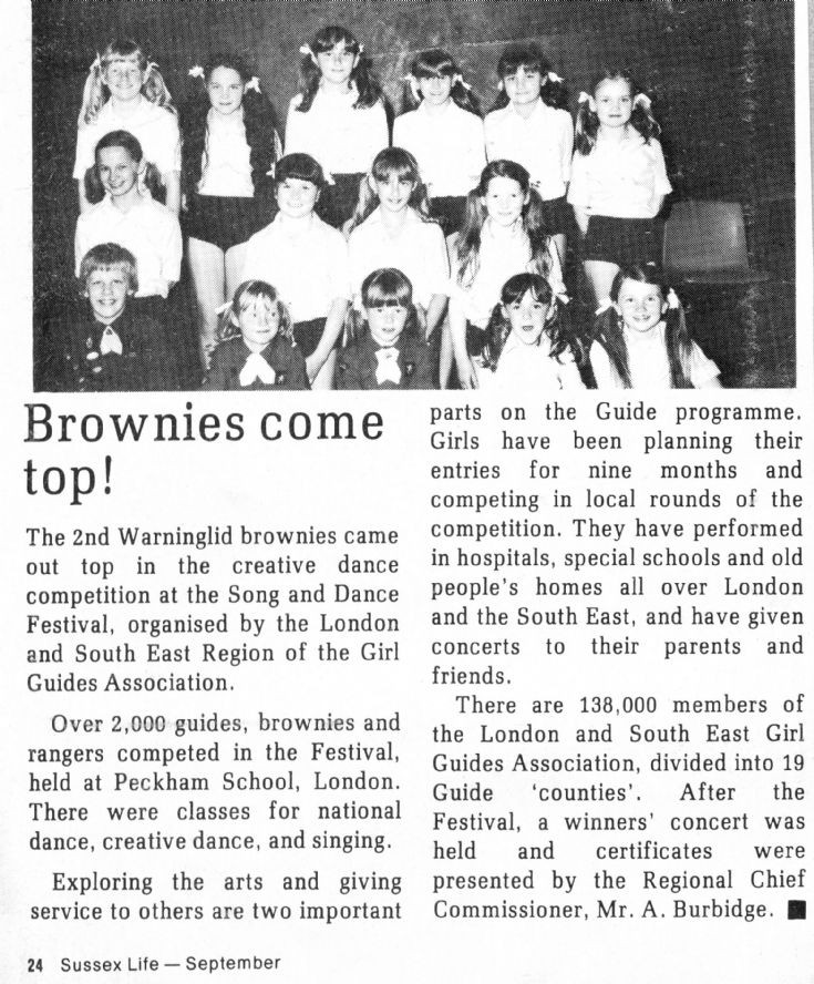 Warninglid Brownies win dancing competition